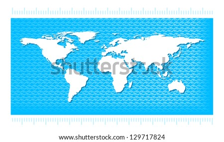 World map with water waves in the style pattern. Illustration for infographic on a blue background.