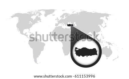 World map zoom on turkey map stock vector 611153996 shutterstock world map with zoom on turkey map in loupe vector illustration in flat style gumiabroncs Choice Image
