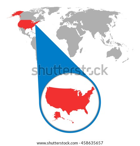 World map with zoom on Usa. America map in loupe. Vector illustration in flat style