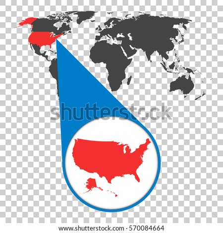 World map zoom on europe map vectores en stock 570084307 shutterstock world map with zoom on usa america map in loupe vector illustration in flat gumiabroncs Image collections
