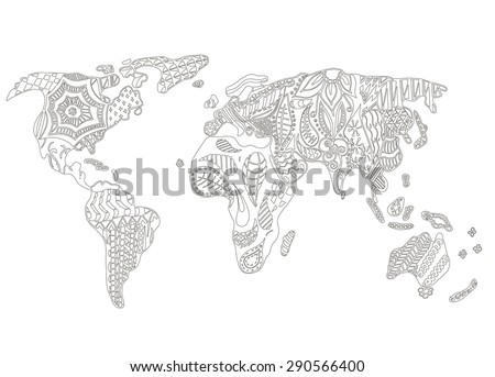 World map zentangle stylized vector illustration stock vector world map zentangle stylized vector illustration freehand pencil pattern gumiabroncs Images