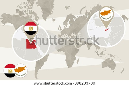 World map zoom on egypt cyprus stock vector 398203780 shutterstock world map zoom on egypt cyprus hijack egypt map with flag cyprus gumiabroncs Choice Image