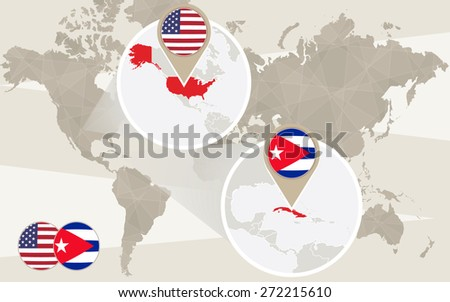 World map zoom on USA, Cuba. Vector Illustration. - stock vector