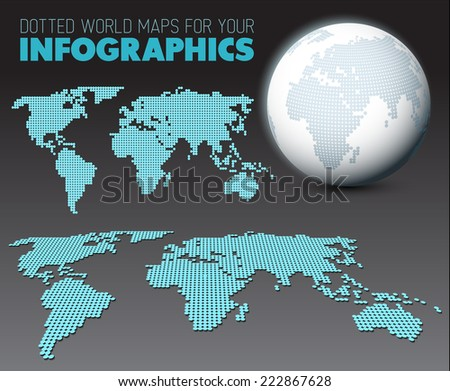 World maps and 3d globe elements for your infographics reports - dark version - stock vector