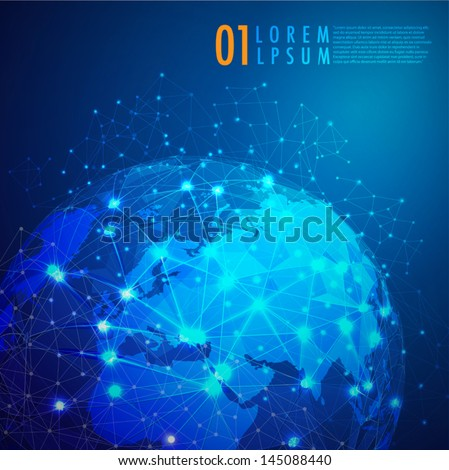 World mesh digital communication and technology network, Vector eps10 - stock vector