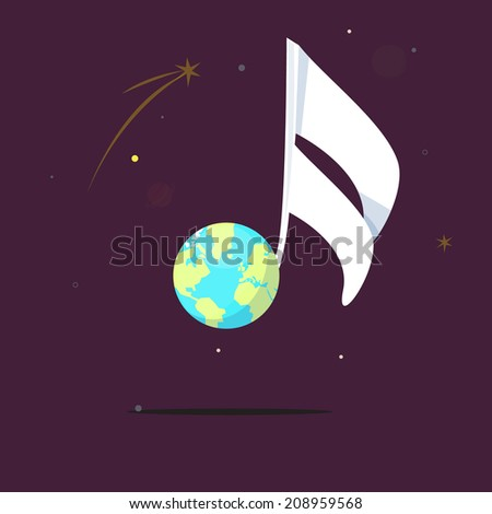 world. musical note - vector illustration - stock vector