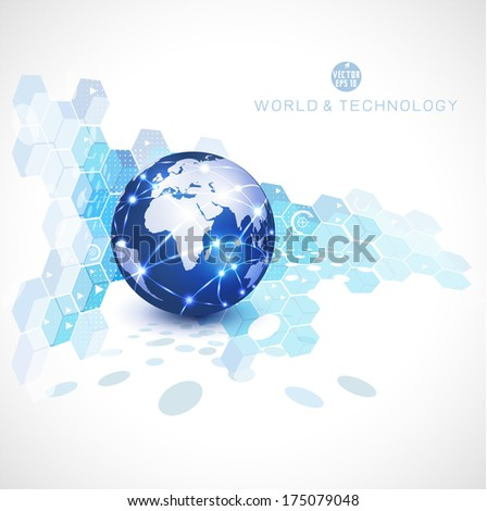 World network communication and technology, vector illustration - stock vector