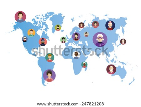 World Networking (Cloud ,Web ,Social media) people icons in flat style with faces. Vector women, men character  - stock vector