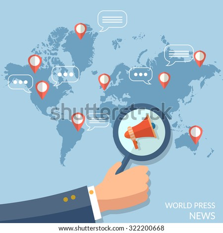 World news global concept online television radio internet telecommunications information and searching vector - stock vector