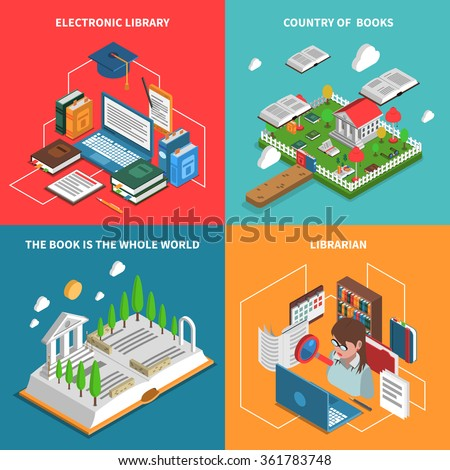 World of books concept isometric icons set with electronic library and librarian symbols isolated vector illustration  - stock vector