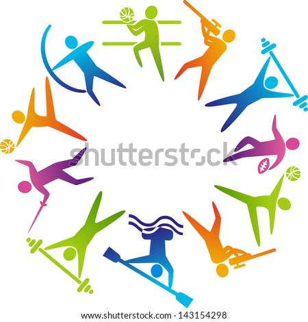 World of sports. Vector illustration of sports icons: soccer; shooting, rugby, gymnastics, American football, power lifting, kayaking, canoeing, barbell, weightlifting, archery, fencing, volleyball. - stock vector