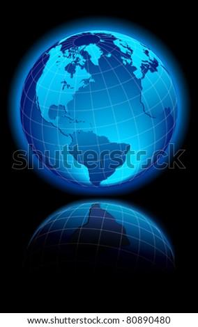 WORLD on a black background North and South America, Africa and Europe - stock vector