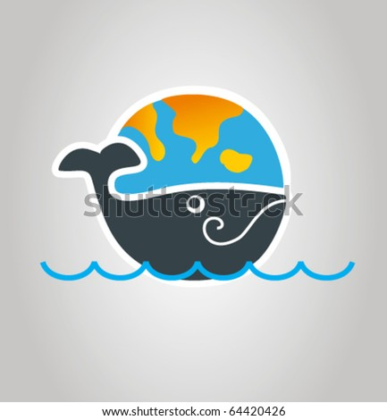 World on whale's back - stock vector