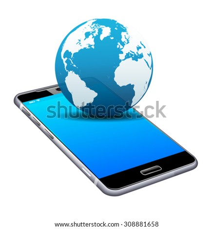 World on your Phone Cell Smart Mobile 3D - stock vector