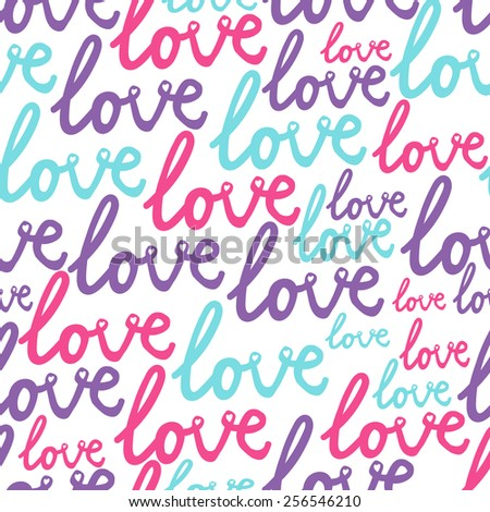 world pattern with love text - stock vector