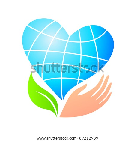 World peace. Planet Earth stylized heart-flower in her hand. Vector symbol. - stock vector