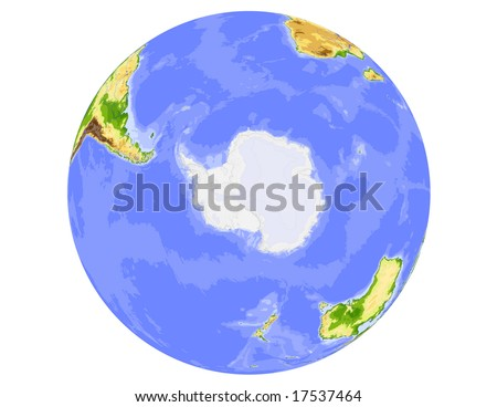 World physical vector map, centered on the South Pole, colored according to elevation,  with rivers and ocean depths, 19 layers, fully editable. Data source: NASA - stock vector