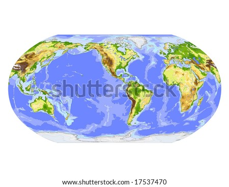 World physical vector map. Robinson projection, centered on America, colored according to elevation,  with contour lines, rivers and ocean depths, 22 layers, fully editable. Data source: NASA - stock vector