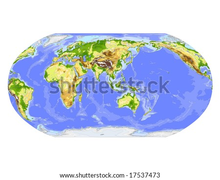 World physical vector map. Robinson projection, centered on Asia, colored according to elevation,  with contour lines, rivers and ocean depths, 22 layers, fully editable. Data source: NASA - stock vector