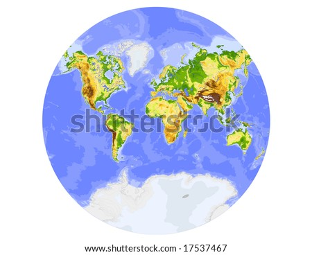 World Physical Vector Map Showing Whole Stock Vector 17537467 ...