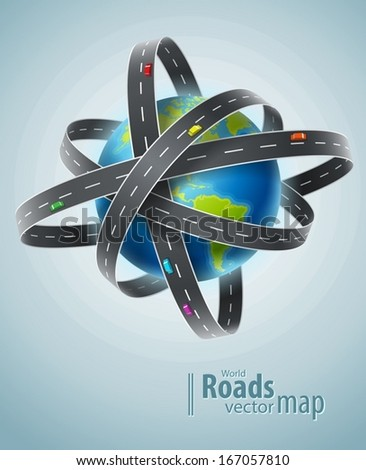 World planet circled by net of roads. Eps10 vector illustration - stock vector