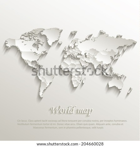 World political map card paper 3D natural vector individual states separate - stock vector