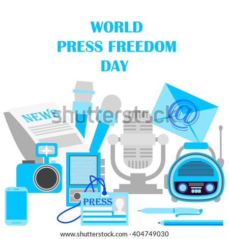 World press freedom day. Journalism and press. News cast journalism television radio press conference concept. Flat design vector illustration - stock vector