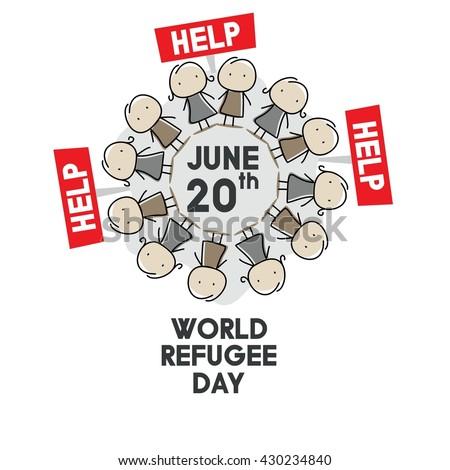 world refugee day campaign poster refugee stock vector 430234831 shutterstock. Black Bedroom Furniture Sets. Home Design Ideas