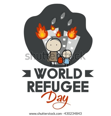 World Refugee Day Campaign Poster Refugee Stock Vector (2018 ...