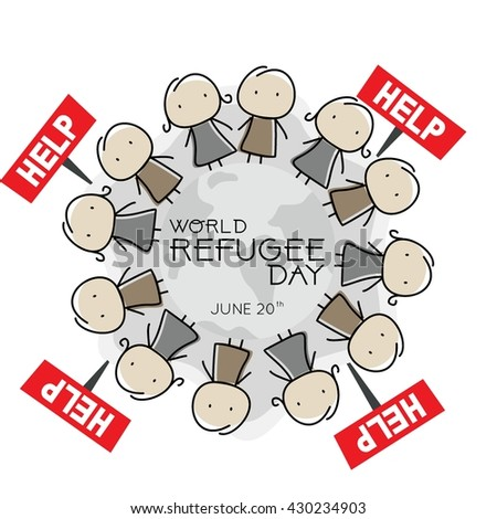World Refugee Day Campaign Poster Refugee Stock Vector HD (Royalty ...