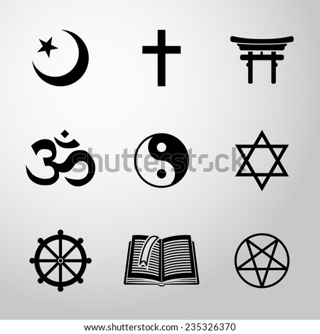 World religion symbols set with - christian, Jewish, Islam, Buddhism, Hinduism, Taoism, Shinto, pentagram, and book as symbol of doctrine. - stock vector