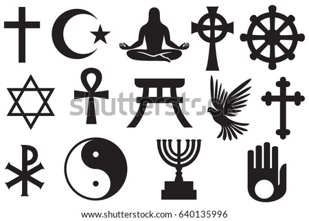 World Religions Symbols Set Christianity Islam Stock Vector