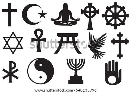 World Religions Symbols Set Christianity Islam Stock Vector