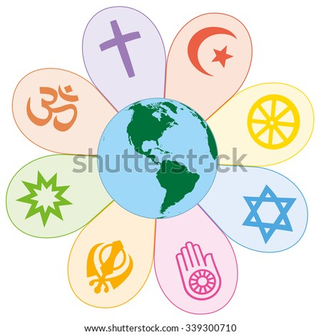 World religions united on a colorful flower with planet earth in center. Isolated vector illustration on white background. - stock vector