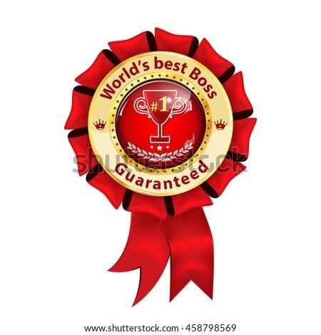 worlds best boss guaranteed award ribbon stock vector royalty free