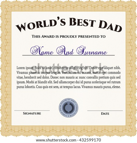 Certificate appreciation template award ribbon on stock vector worlds best dad award template with background customizable easy to edit and change yadclub Image collections