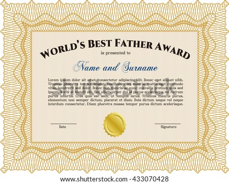 World's Best Father Award. With background. Cordial design. Detailed.