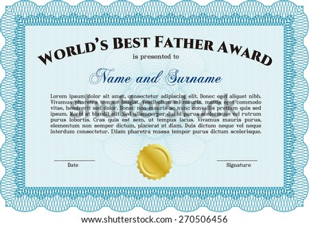 Worlds best father certificate award template stock vector hd worlds best father certificate award template sky blue yadclub
