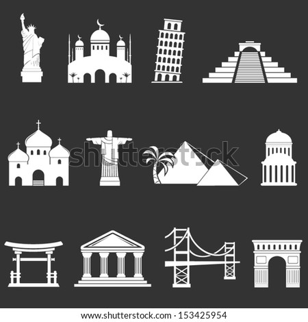 World sights icons - stock vector