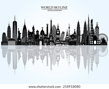 World skyline detailed silhouette. Vector illustration - stock vector