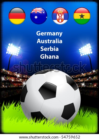 World Soccer Competition Group D Original Illustration - stock vector