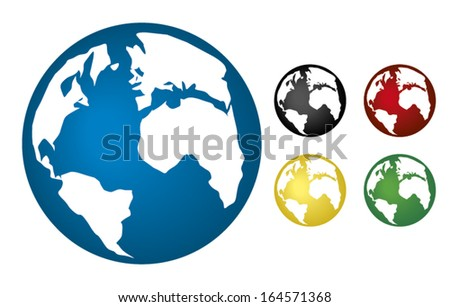 World spherical map (globe) drawings in colors - stock vector