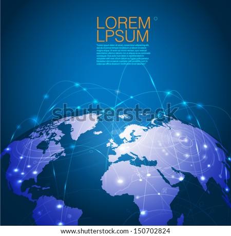 World technology mesh network, vector illustration - stock vector