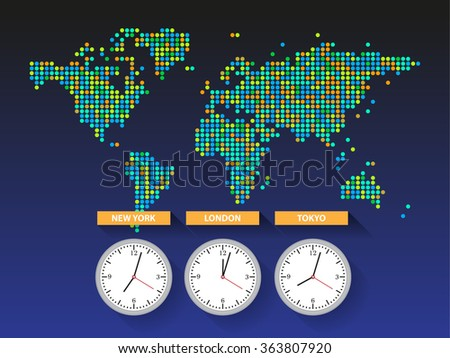 World time. Dotted world map with different time zone clocks