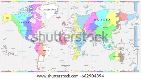 World Time Zones Map Political Map Stock Vector - Global time zones map