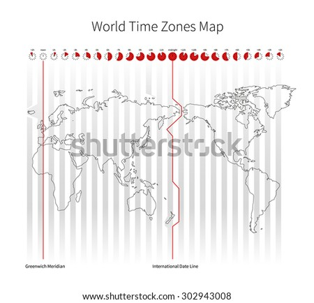 World Time Zones Map isolated on white - stock vector