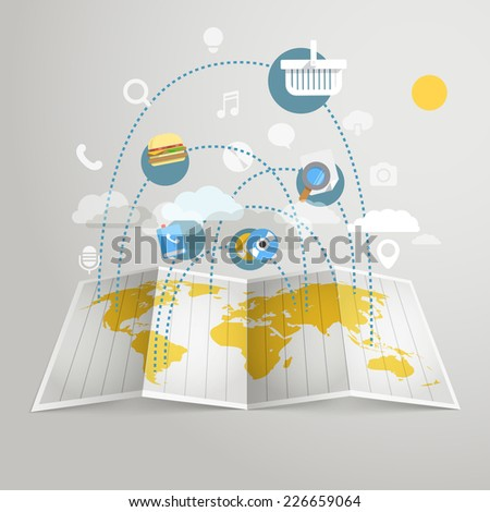 World trade abstract scheme. Design elements - stock vector
