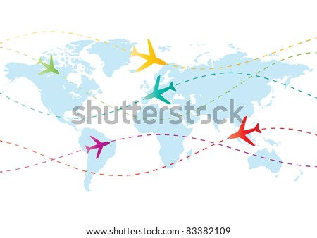 world travel airplanes vector - stock vector