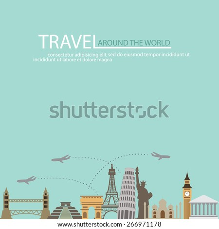 world travel background, vacation and famous landmark concept. words can be added. - stock vector