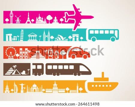 world travel by different kinds of transport, landmarks set - stock vector